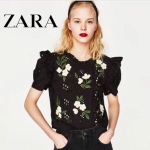 Zara Eyelet Floral Embroidered Tie Top Size XS